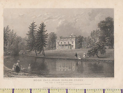 1833 ANTIQUE SMALL GEORGIAN PRINT ~MOOR HALL Nr HARLOW ~ ESSEX THOMAS PERRY