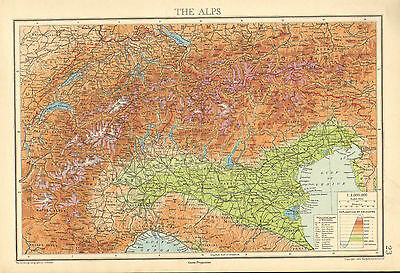1942 Map Chart ~ The Alps Switzerland Showing Mountain Heights & Names