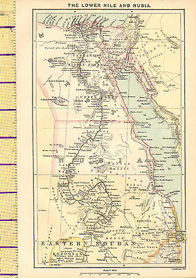 1880 Map ~ The Lower Nile & Nubia ~ Egypt Bahari Said Peninsula Of Sinai