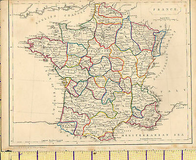 c1815 MAP ~ FRANCE ~ NORMANDY MAINE LORRAINE ~ HAND COLOURED