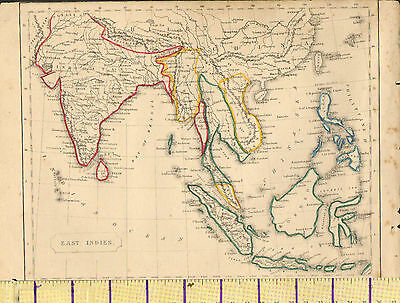 c1815 MAP ~ EAST INDIES INDIA SUMATRA JAVA BORNEO SIAM PHILIPPINE HAND COLOURED