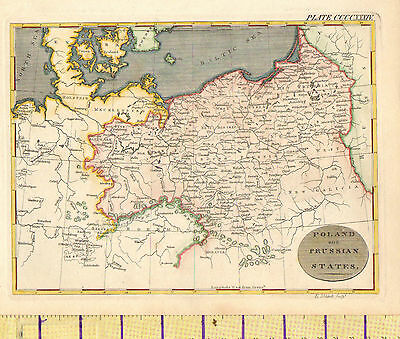 c1815 MAP ~ POLAND & PRUSSIAN STATES HOLSTEIN MECKLENBURG BOHEMIA HAND COLOURED