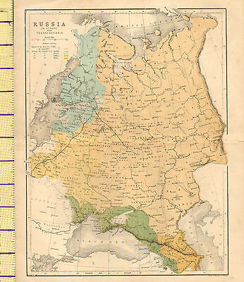c1870 MAP ~ RUSSIA IN EUROPE WITH TRANSCAUCASIA ~ FINLAND KHERSON ARKHANGEL