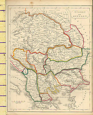 c1815 MAP ~ TURKEY & HUNGARY BOSNIA BULGARIA TRANSYLVANIA AUSTRIA HAND COULORED