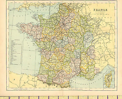 c1880 MAP ~ FRANCE ~ WITH PROVINCES INSET CORSICA