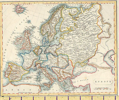 c1815 MAP ~ EUROPE ~ BRITISH ISLANDS SPAIN ITALY RUSSIA SWEDEN etc HAND COLOURED