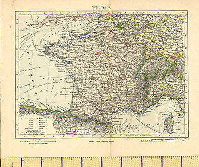 c1880 MAP ~ FRANCE ~ SEA ROUTES POPULATION OF TOWNS RAILWAYS
