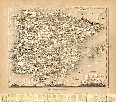 c1830 HAND COLOURED MAP ~ SPAIN & PORTUGAL ~ SHOWING MOUNTAIN HEIGHTS