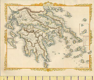 c1850 VICTORIAN HAND COLOURED MAP ~ GREECE & IONIAN ISLES