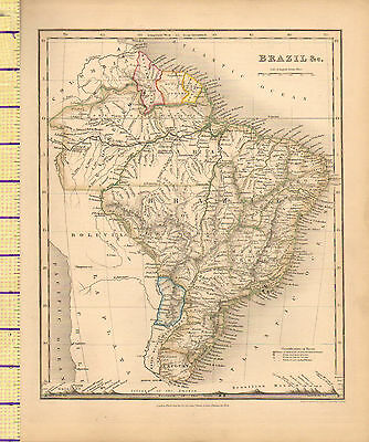 c1840 VICTORIAN MAP ~ SOUTH AMERICA BRAZIL WITH MOUNTAIN HEIGHTS