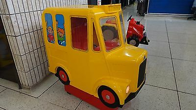 Yellow School Bus Kiddie Ride Machine Coin Op Working