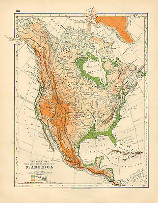 1897 Victorian Map ~ North America Physical ~ Showing Mountains Plains & Valleys