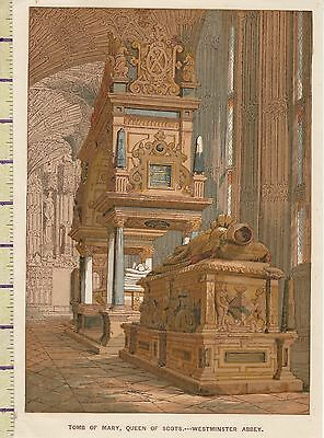 c1880 VICTORIAN PRINT ~ TOMB OF MARY QUEEN OF SCOTS WESTMINSTER ABBEY LONDON