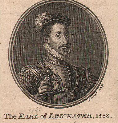 c1795 GEORGIAN PRINT ~ THE EARL OF LEICESTER 1588 ~