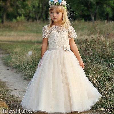Formal Lace Baby Princess Flower Girl Dresses Bridesmaid Wedding Party Dresses