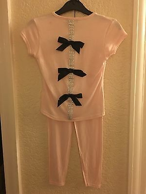 Chic London Girls Lounge Suit Age 2-3 Years Pale Pink Glitter & Bows On Back