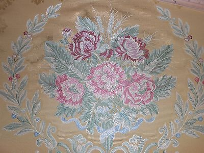 7Y new antique Italian upholstery Fabric large Medallions colorful design gold