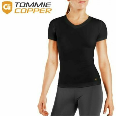 TOMMIE COPPER Women's Core Compression Short Sleeve V-Neck Shirt Top Gym New