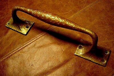 "Vintage Solid Hammered Solid Brass Door Handle Pull 11""L"
