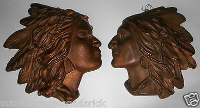 Vintage Chalkware Indian Heads Man & Woman Wall Plaques - Great Home Decor RARE