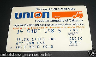 Vintage Union 76 National Truck Gas Credit Card Sample Only VGC - RARE