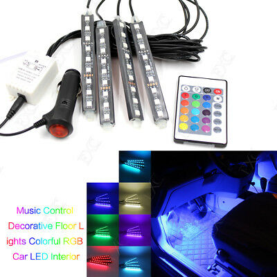 4X 9 LED Remote Control Full Color RGB Car Interior Lighting Floor Decor Lights