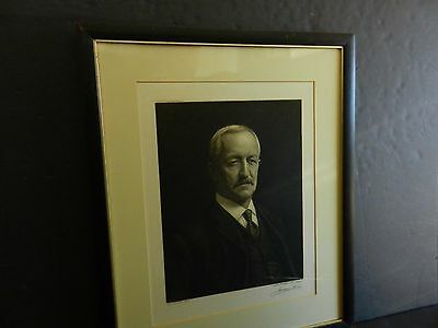 1917 Original Of Wyatt Earp Pencil Signed Jacques Reich Copper Etching Proof