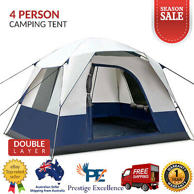 Pop Up Tent 4 Person Family Dome Tents Cabin Camping Waterproof Canvas Hiking