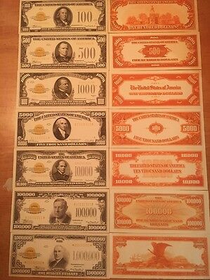 Reproduction  Paper Money 1934 7 PC Gold Seal Set US Currency Copy Note