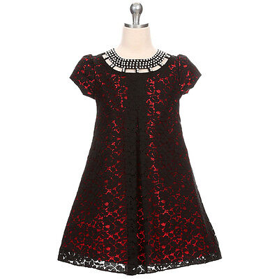 RED Flower Girl Dress Bridesmaid Wedding Birthday Party Recital Formal Lace Prom