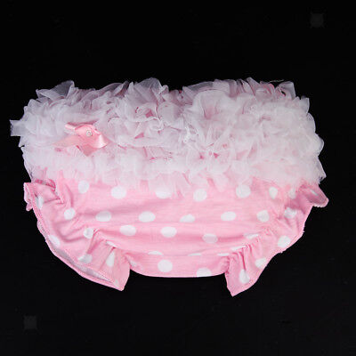 Newborn Baby Girl 0-2Y Cotton Ruffle Nappy Diaper Cover Bloomers Panty Pink