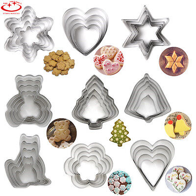 5pcs Stainless Steel Cookie Biscuit Cutter Mold Pastry Cake Fondant Decor Mold