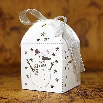 50Pcs Christmas Snowman Hollow Candy Boxes Gift Bags Wedding Favors White
