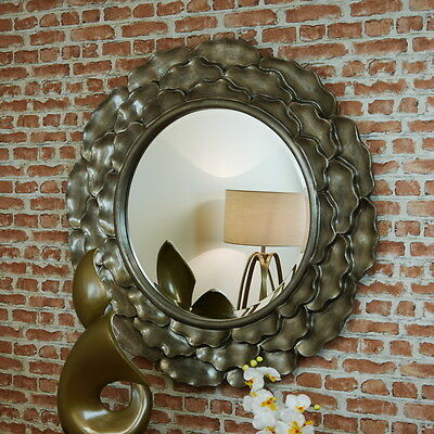 Contemporary Edlyn Antiqued Gloss Large Round Wall Hanging Mirror Unique Beveled