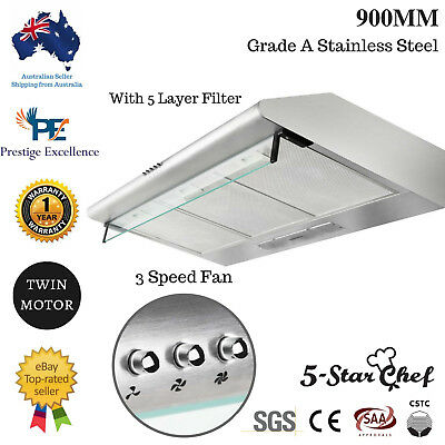 90cm Rangehood Stainless Steel FIXED RANGE HOOD 900mm KITCHEN Canopy Extractor