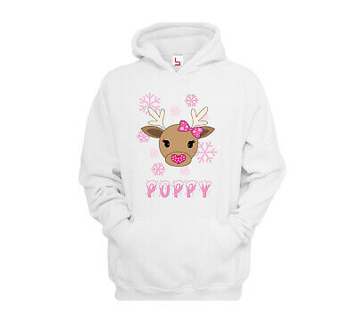 Girls Personalised Christmas Reindeer Hoodie Childrens Rudolf Kids Xmas Hoody D2