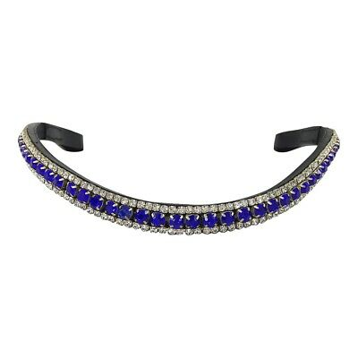 NEW Black Leather BLING BROWBAND *3 Rows Blue & Clear Crystals* PONY COB FULL WB