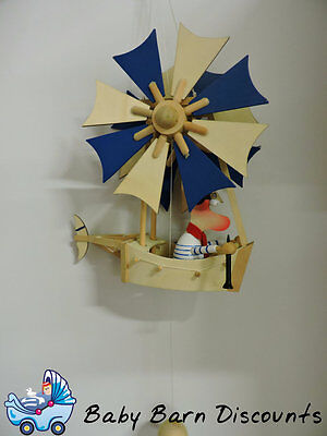 NEW Wooden Windmill Mobile -- BLUE from Baby Barn Discounts