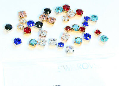 Genuine SWAROVSKI 1088 Chaton Crystals in Setting 4 Holes Sew On