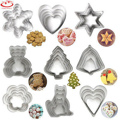5pcs Stainless Steel Biscuit Pastry Cookie Cutter Cake Decor Mold Mould Tools