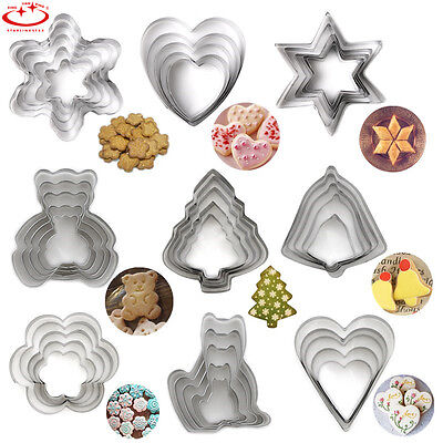 5pcs Stainless Steel Cookie Biscuit Cutter Mold Cake Pastry DIY Baking Tool