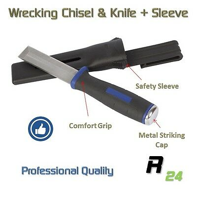 Wrecking Chisel/knife. Expert quality Rugged, Sharp, Stainless Steel with sleeve