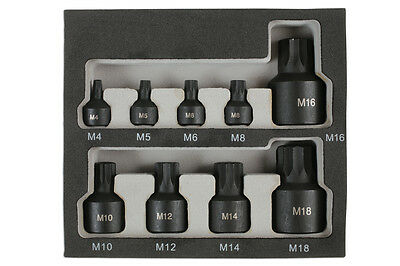 "Low Profile Short Impact Spline Socket Bit Set M4 - M14 1/4"" 3/8"" 1/2"" Drive"