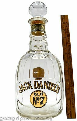 "Vintage JACK DANIEL'S ""OLD No. 7"" GLASS DECANTER Bottle w/ Stopper! HALF GALLON"