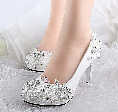 White lace crystal Wedding shoes Bridal flats/low/high heels size 5-9
