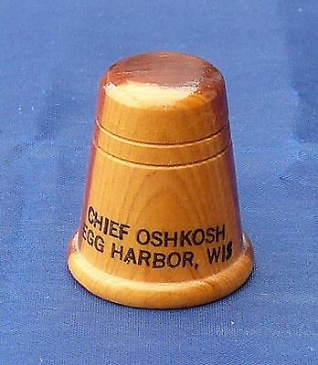 Wood thimble with Chief Oshikosh Egg Harbour Wis