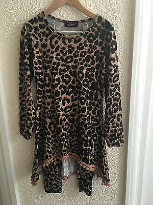 Chic London Girls Pom Pom Lounge Suit Age 2-3 Years Brown Animal Print Long BNWT
