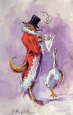 Funny Fox and Goose Christmas Cards pack of 10 by Jonathan Walker C192X