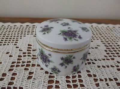 """Lefton Violet Chintz 3"""" Round Covered Box with Violets  #1948 Hard to Find"""