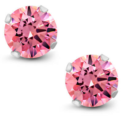 2 ctw Fancy Pink Round 10K White Gold Stud Earrings Made With Swarovski Zirconia